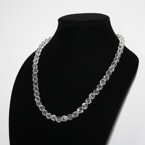 "Beautiful clear crystal beaded necklace 22"" NWOT"